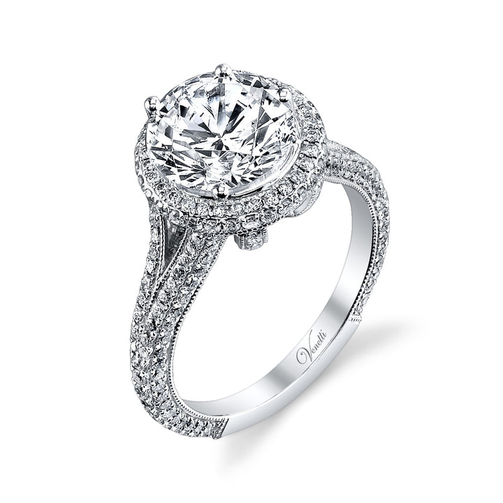 14K White Gold Engagement Ring Setting With 228 Round  Diamonds