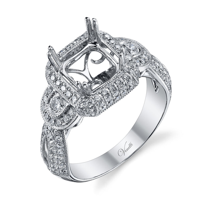 14K White Gold Engagement Ring Setting With 140 Round  Diamonds