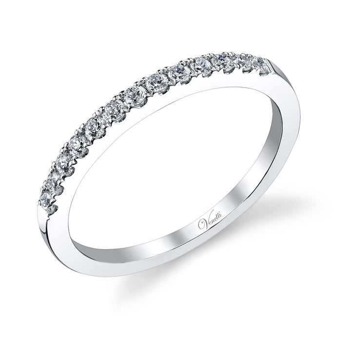 14K White Gold Wedding Band With 13 Round  Diamonds
