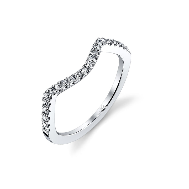 14K White Gold Wedding Band With 23 Round  Diamonds