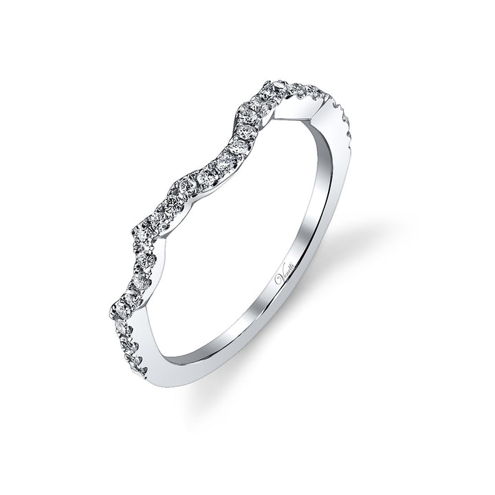 14K White Gold Wedding Band With 28 Round  Diamonds