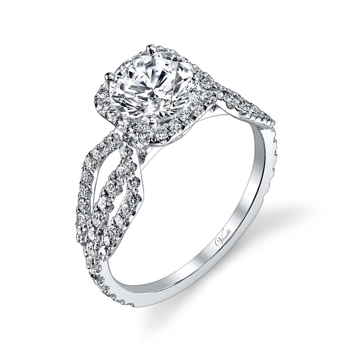 14K White Gold Engagement Ring Setting With 84 Round  Diamonds