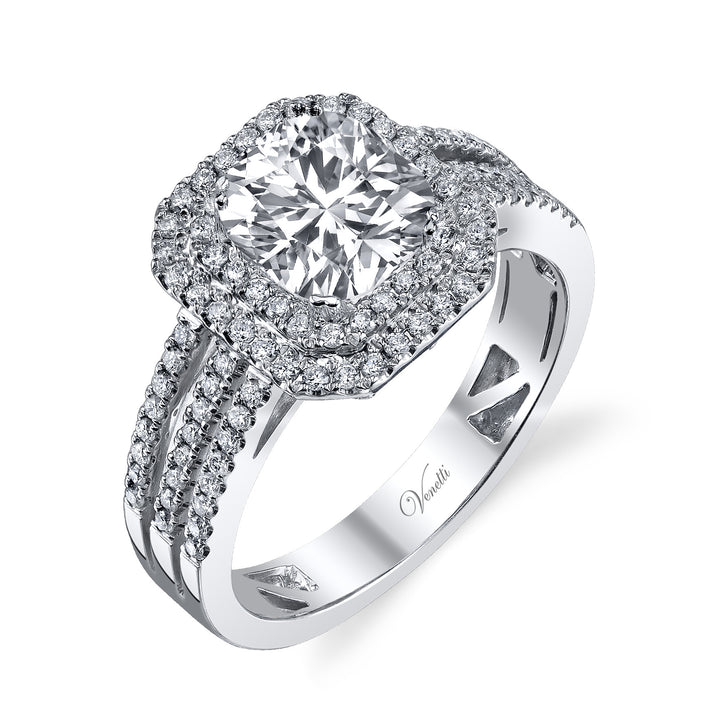 14K White Gold Engagement Ring Setting With 100 Round  Diamonds