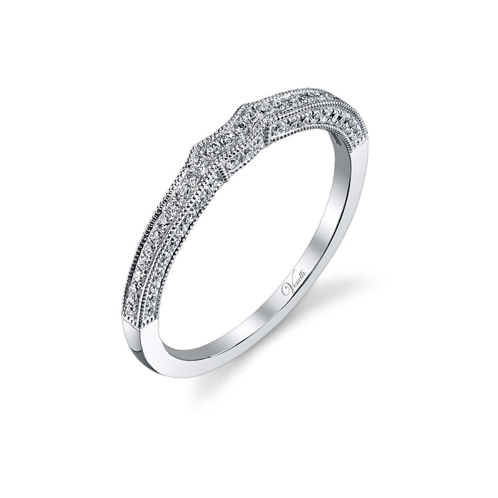 14K White Gold Wedding Band With 51 Round  Diamonds