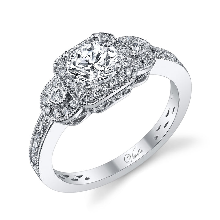 14K White Gold Engagement Ring Setting With 50 Round  Diamonds