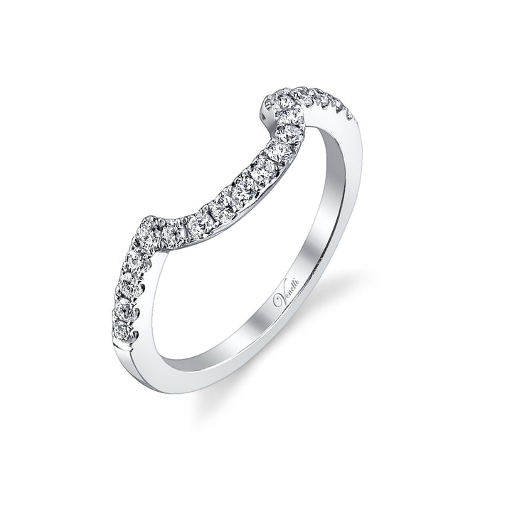 14K White Gold Wedding Band With 18 Round  Diamonds