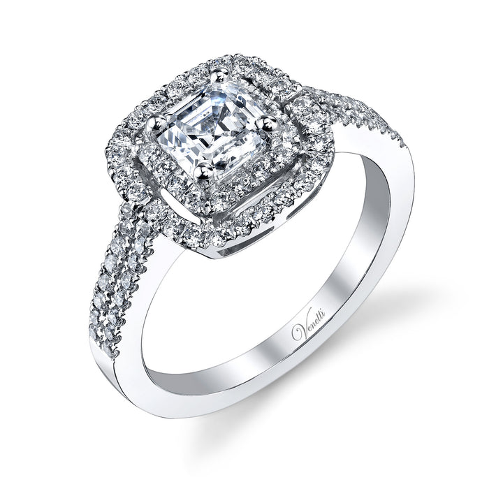 14K White Gold Engagement Ring Setting With 72 Round  Diamonds