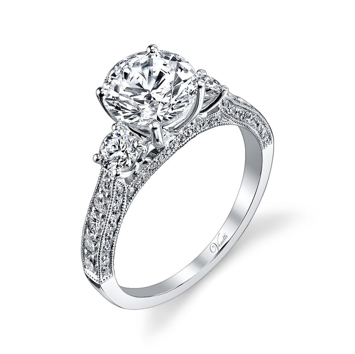 14K White Gold Engagement Ring Setting With 70 Round  Diamonds