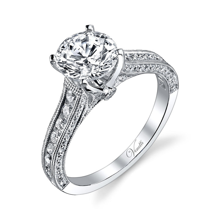 14K White Gold Engagement Ring Setting With 96 Round  Diamonds
