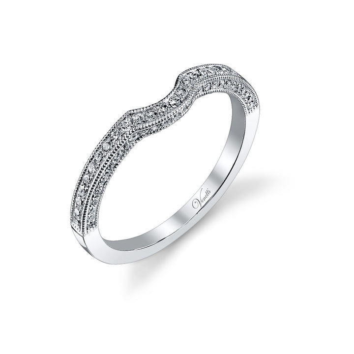 14K White Gold Wedding Band With 55 Round  Diamonds