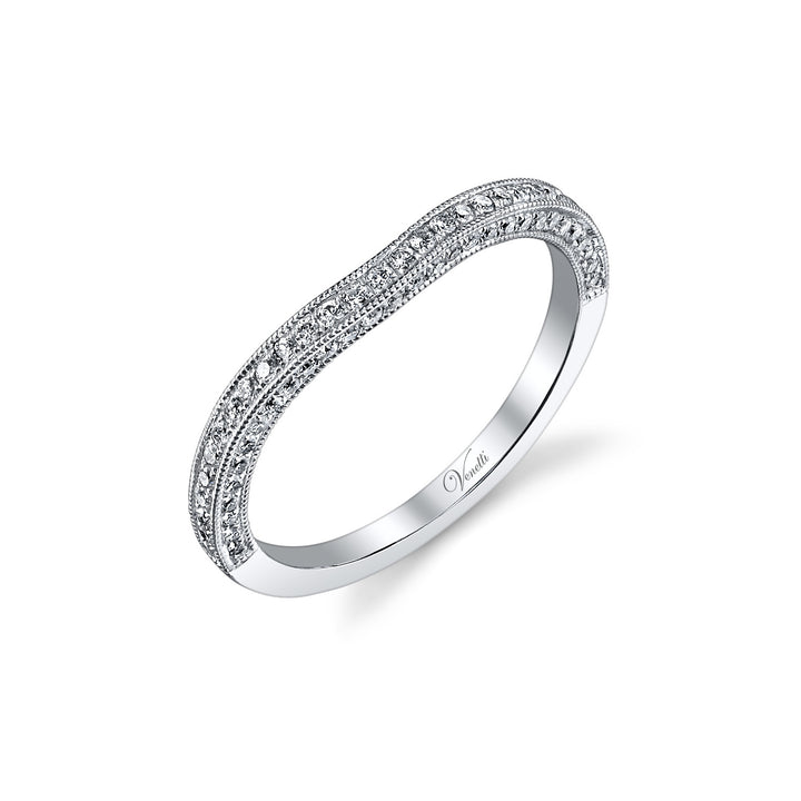 14K White Gold Wedding Band With 60 Round  Diamonds