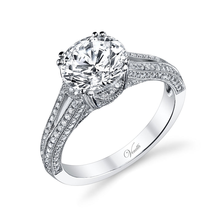 14K White Gold Engagement Ring Setting With 136 Round  Diamonds