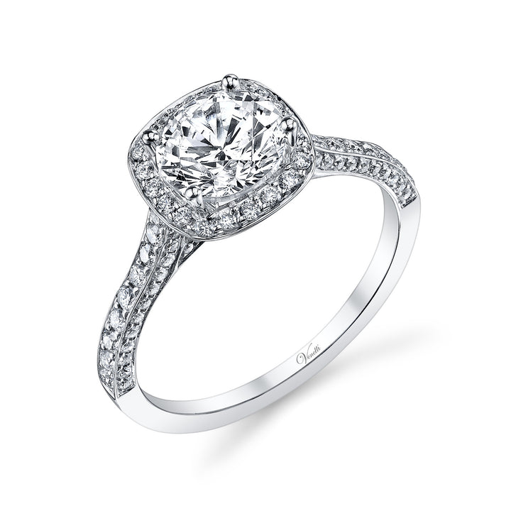 14K White Gold Engagement Ring Setting With 108 Round  Diamonds
