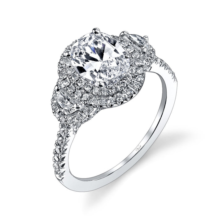 14K White Gold Engagement Ring Setting With 120 Round  Diamonds