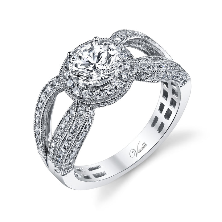 14K White Gold Engagement Ring Setting With 132 Round  Diamonds