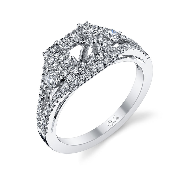 14K White Gold Engagement Ring Setting With 106 Round  Diamonds