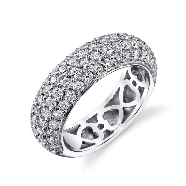 14K White Gold Wedding Band With 78 Round  Diamonds