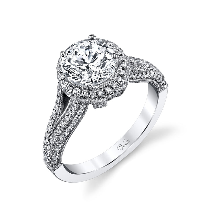 14K White Gold Engagement Ring Setting With 160 Round  Diamonds