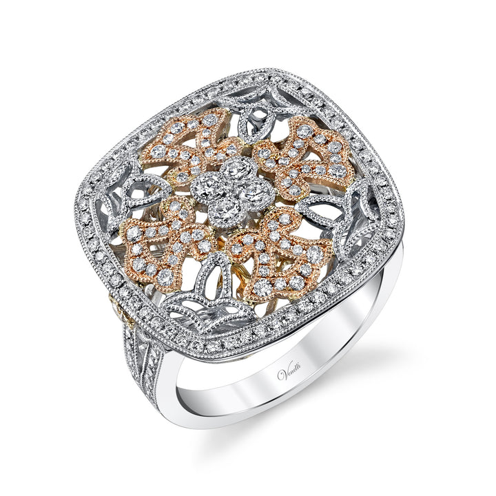 14K Rose And White Goldengagement Ring Setting With 176 Round  Diamonds