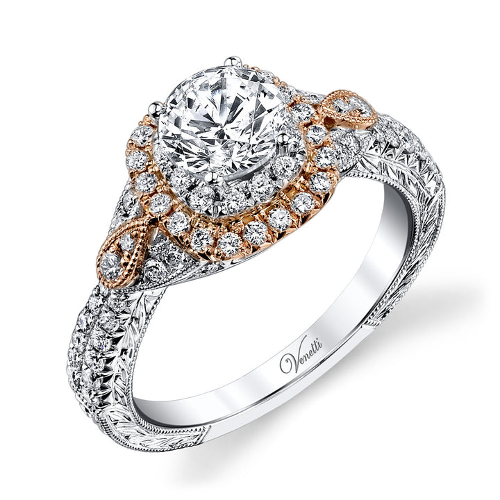 14K Rose And White Goldengagement Ring Setting With 68 Round  Diamonds