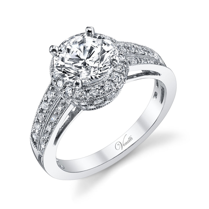 14K White Gold Engagement Ring Setting With 58 Round  Diamonds