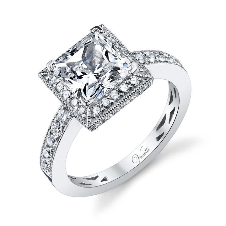 14K White Gold Engagement Ring Setting With 54 Round  Diamonds