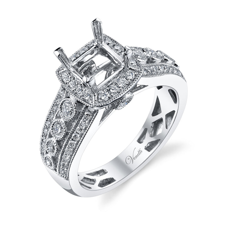 14K White Gold Engagement Ring Setting With 66 Round  Diamonds