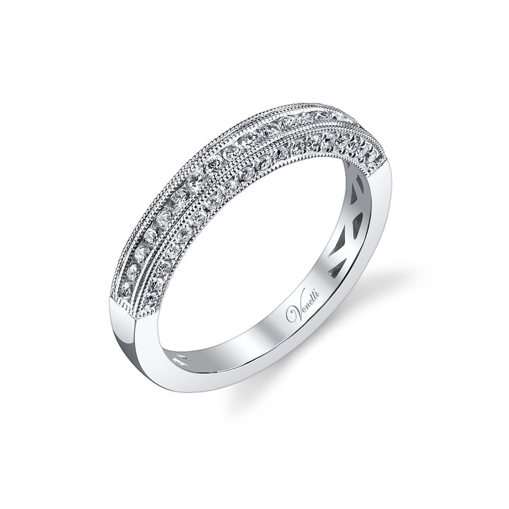 14K White Gold Wedding Band With 54 Round  Diamonds