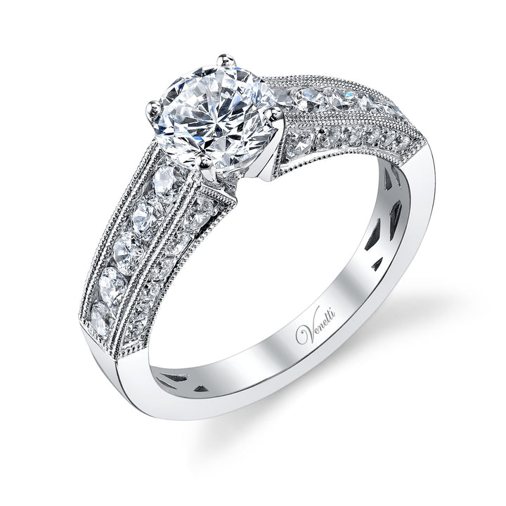 14K White Gold Engagement Ring Setting With 34 Round  Diamonds