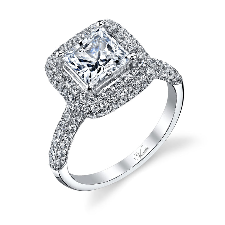 14K White Gold Engagement Ring Setting With 156 Round  Diamonds