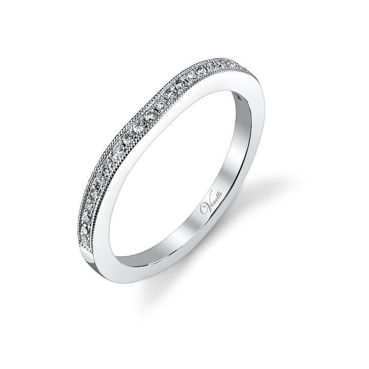 14K White Gold Wedding Band With 21 Round  Diamonds
