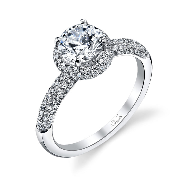 14K White Gold Engagement Ring Setting With 220 Round  Diamonds