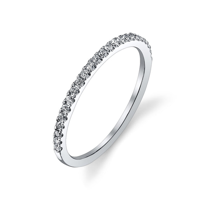 14K White Gold Wedding Band With 24 Round  Diamonds