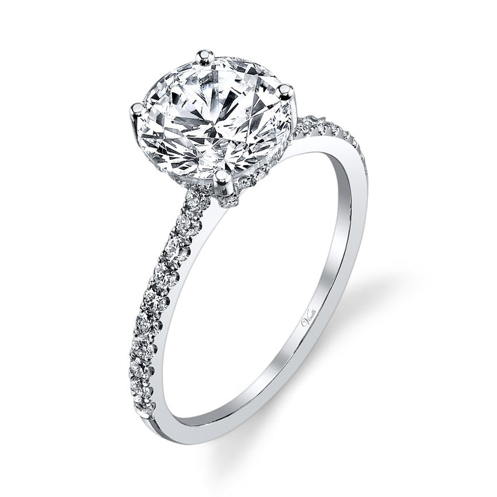 14K White Gold Engagement Ring Setting With 56 Round  Diamonds