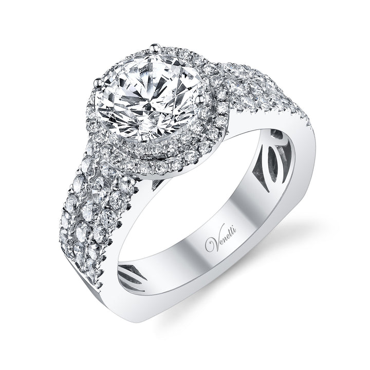 14K White Gold Engagement Ring Setting With 86 Round  Diamonds
