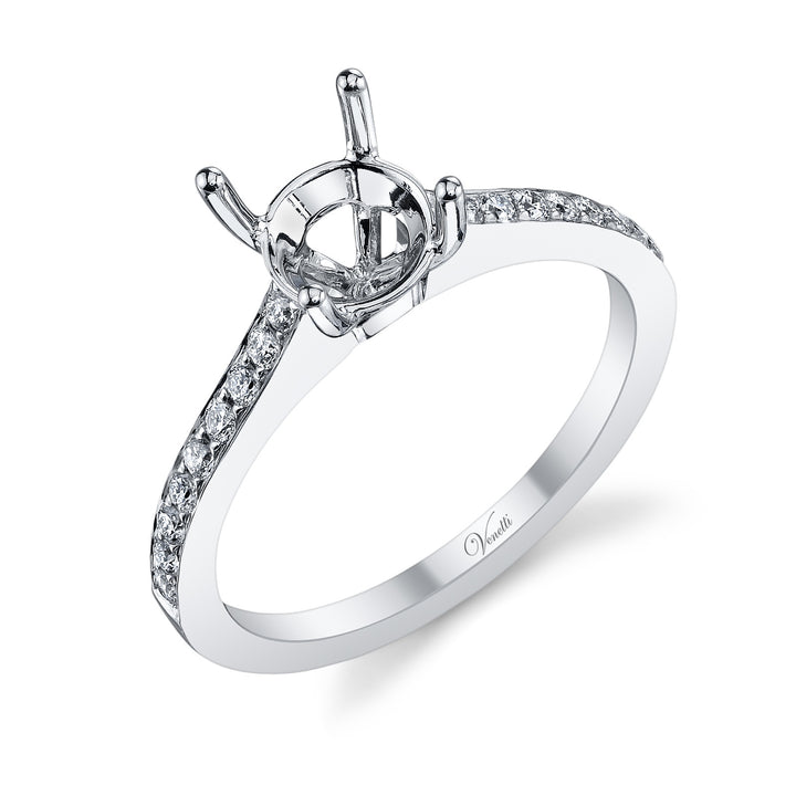 14K White Gold Engagement Ring Setting With 18 Round  Diamonds