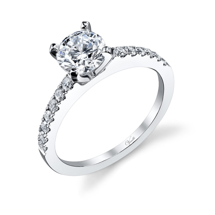 14K White Gold Engagement Ring Setting With 14 Round  Diamonds