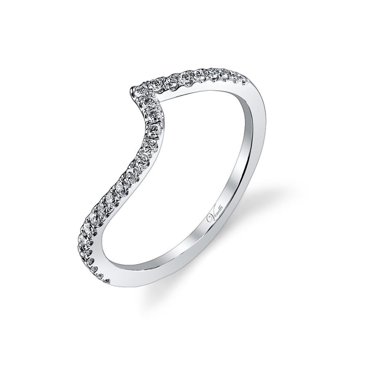 14K White Gold Wedding Band With 26 Round  Diamonds
