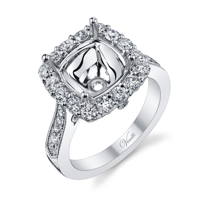 14K White Gold Engagement Ring Setting With 76 Round  Diamonds