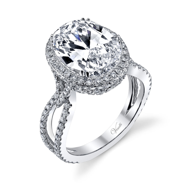 14K White Gold Engagement Ring Setting With 262 Round  Diamonds