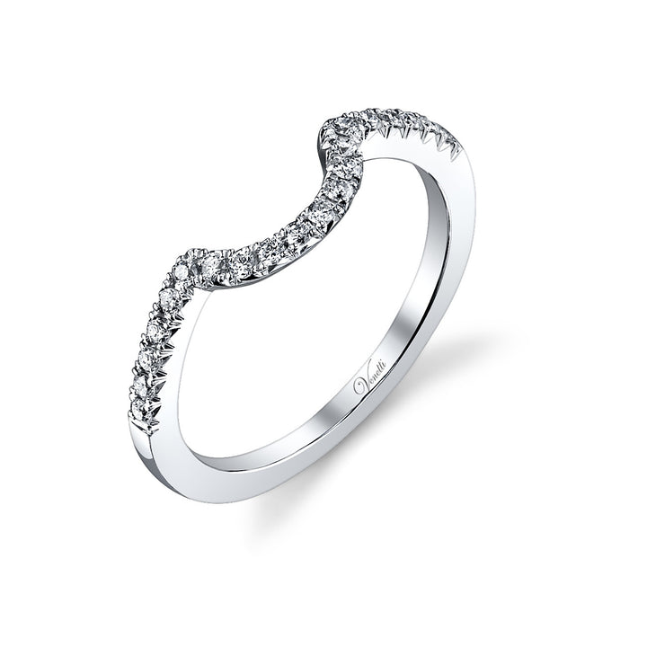 14K White Gold Wedding Band With 20 Round  Diamonds