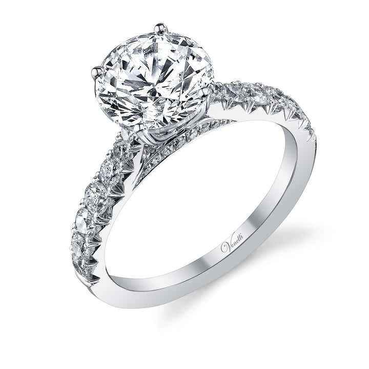 14K White Gold Engagement Ring Setting With 28 Round  Diamonds