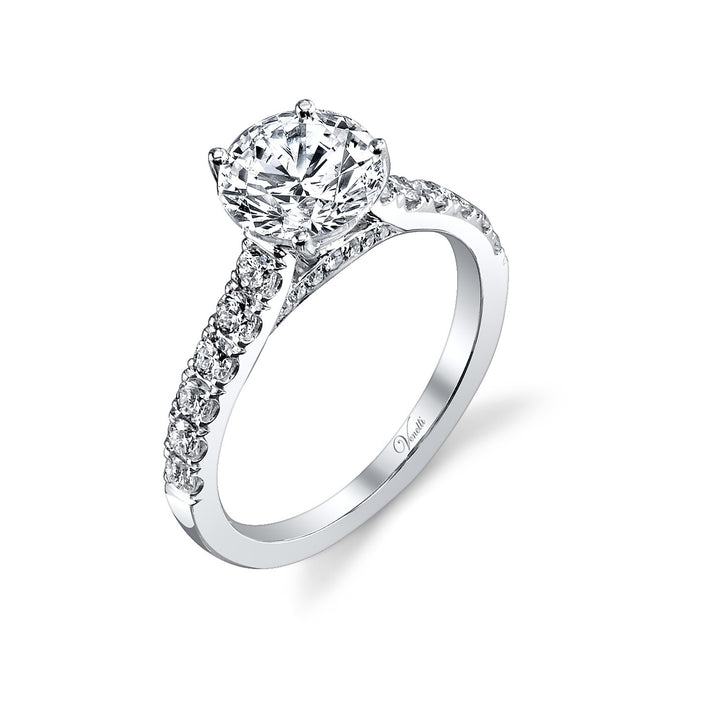14K White Gold Engagement Ring Setting With 26 Round  Diamonds
