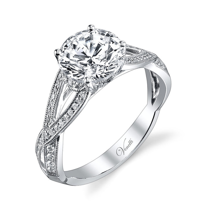 14K White Gold Engagement Ring Setting With 62 Round  Diamonds