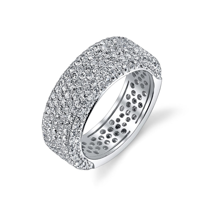 14K White Gold Wedding Band With 253 Round  Diamonds