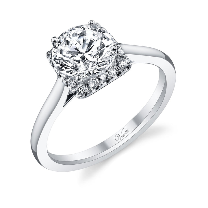 14K White Gold Engagement Ring Setting With 16 Round  Diamonds