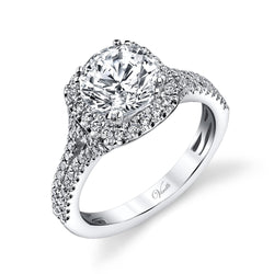 14K White Gold Engagement Ring Setting With 98 Round  Diamonds