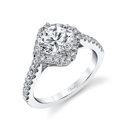 14K White Gold Engagement Ring Setting With 40 Round  Diamonds