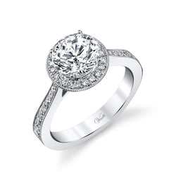 14K White Gold Engagement Ring Setting With 64 Round  Diamonds