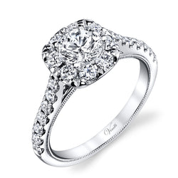 14K White Gold Engagement Ring Setting With 22 Round  Diamonds